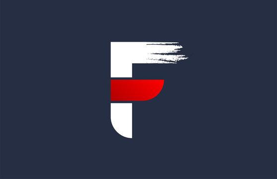 F white red blue alphabet letter with grunge brush ending for company logo icon design
