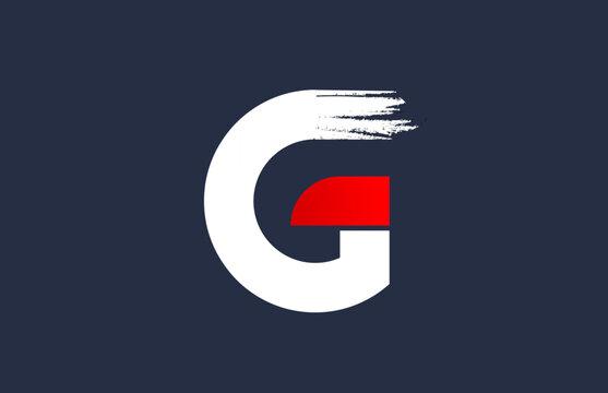 G white red blue alphabet letter with grunge brush ending for company logo icon design