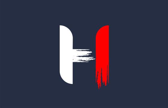 H white red blue alphabet letter with grunge brush ending for company logo icon design