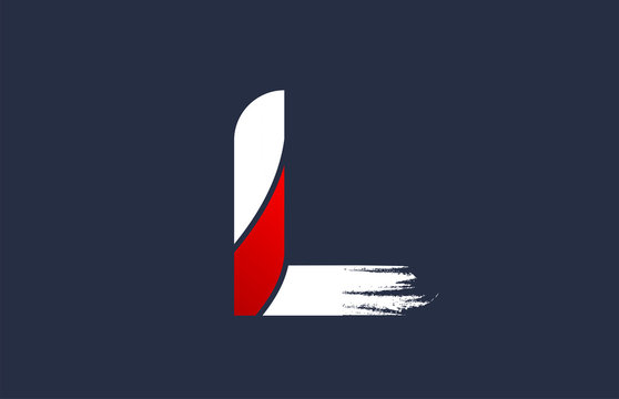L white red blue alphabet letter with grunge brush ending for company logo icon design