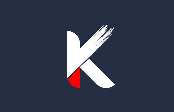 K white red blue alphabet letter with grunge brush ending for company logo icon design