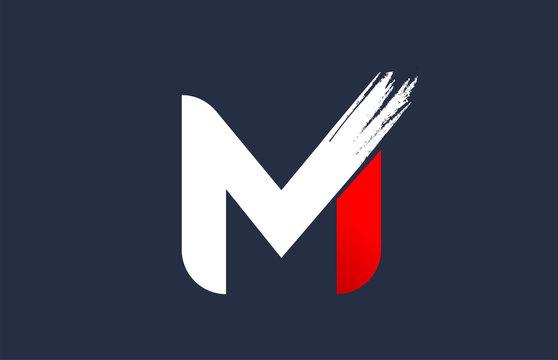 M white red blue alphabet letter with grunge brush ending for company logo icon design