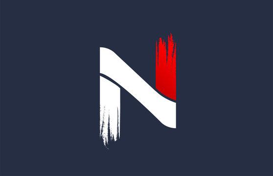 N white red blue alphabet letter with grunge brush ending for company logo icon design