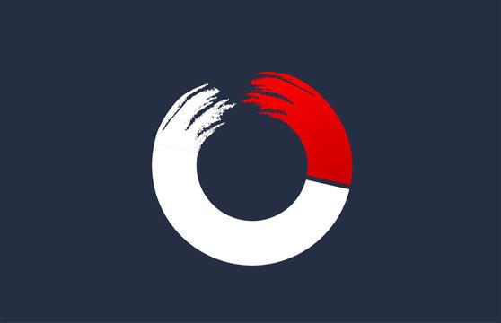 O white red blue alphabet letter with grunge brush ending for company logo icon design
