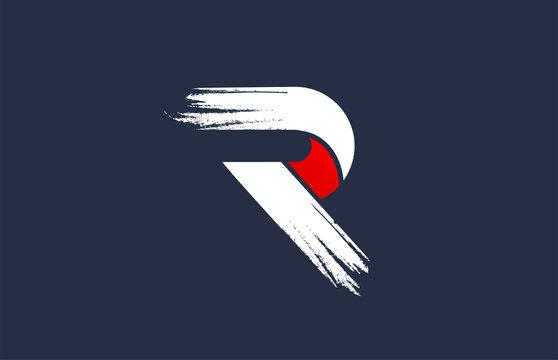 R white red blue alphabet letter with grunge brush ending for company logo icon design