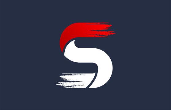 S white red blue alphabet letter with grunge brush ending for company logo icon design