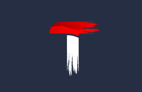 T white red blue alphabet letter with grunge brush ending for company logo icon design