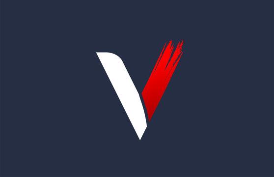 V white red blue alphabet letter with grunge brush ending for company logo icon design