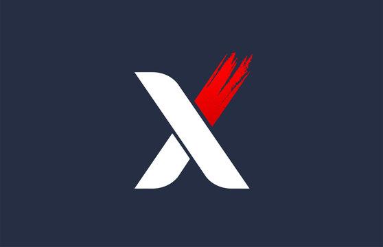 X white red blue alphabet letter with grunge brush ending for company logo icon design