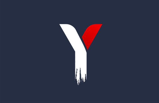 Y white red blue alphabet letter with grunge brush ending for company logo icon design