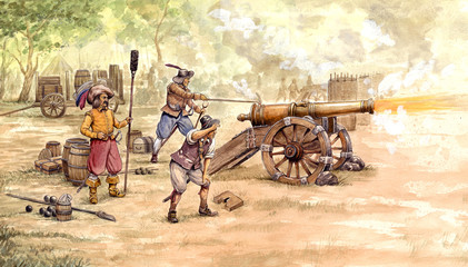 Artillery shot during medieval war. Artillery crew at work. Historical illustartion.