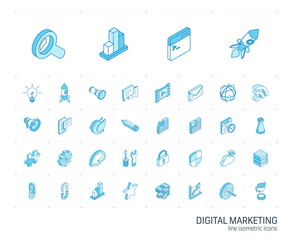 Isometric line icon set. 3d vector colorful illustration with SEO symbols. Digital network, analytics, social media and market colorful pictogram Isolated on white
