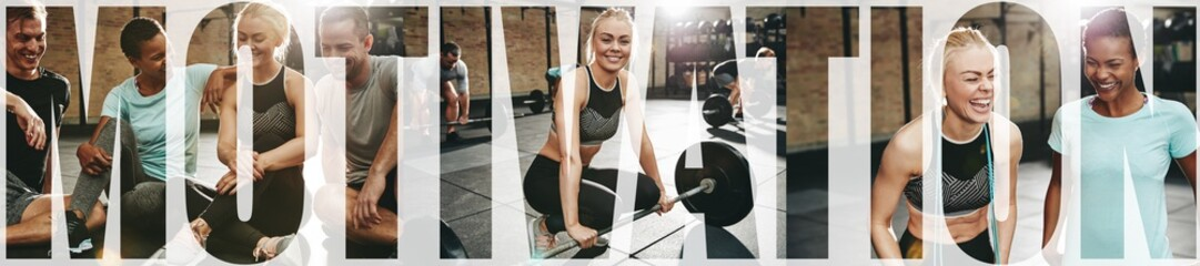 Collage of a smiling young woman exercising with friends