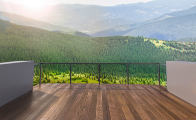 Foto auf Acrylglas Cappuccino Balcony view of mountains. Landscape. Sunny Day. Terrace with a beautiful view. Background with beautiful landscape.