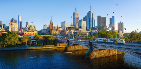 Panorama view of beautiful Melbourne cityscape skyline
