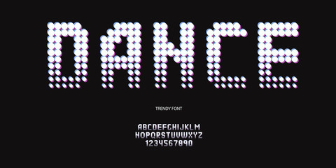 vector dance font neon style modern typography for night party