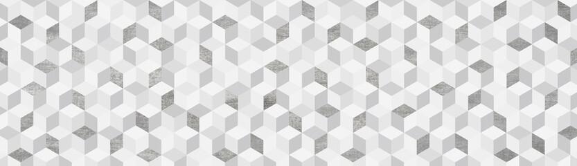 Background  キューブ  グレー系幾何学模様の背景イラスト