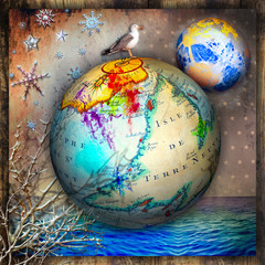 Poster Imagination Earth globe with starry night over the sea. Concept of travel and imagination