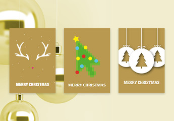 Golden Christmas Postcards Layout Set