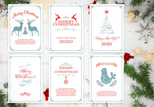 Set of Framed Christmas Card Layouts