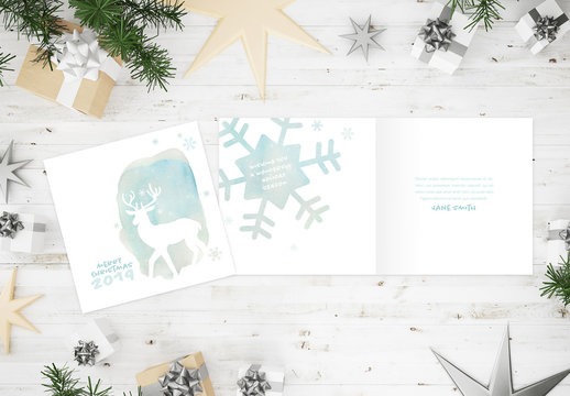 Watercolor Style Christmas Card Layout with Reindeer