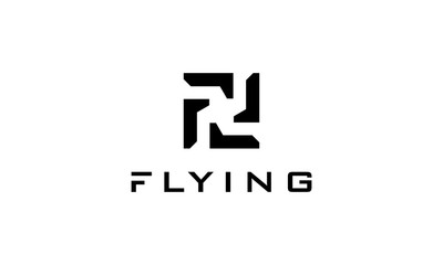 Simple and meaningful logo combination from letter F with plane logo design concept