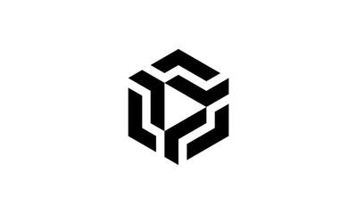 cube box hexagon with play button logo design template