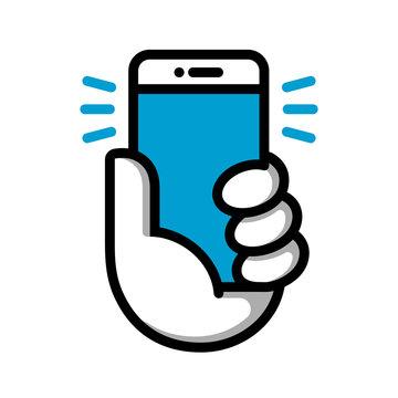 Hand hold phone logotype. Hand hold smartphone. Vector illustration. Smart phone linear logo symbol. Vector logotype.