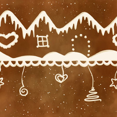 Gingerbread houses, snow and decoration with white sugar icing on brown cookie texture in a striped pattern