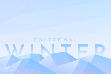 Fototapete - Vector abstract flat winter landscape. Minimalistic winter scene. Website template. Cartoon design. Snowfall. Polygonal style. Banner with text behind the mountains. Clear sky with copy space
