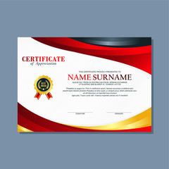 Certificate Template, modern and trendy design, with red, gold and black combination color, make it appear more professional, elegant and luxury