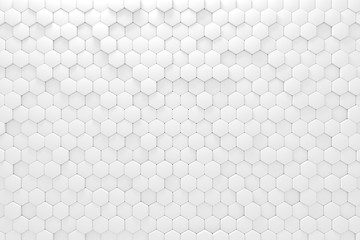 White geometric mosaic hexagonal abstract background. Computer generated abstract geometric. 3d...