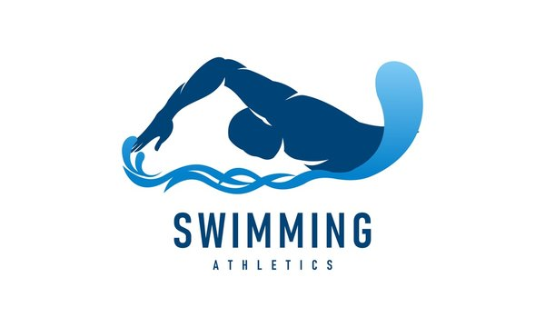 Man swimming competition, swimming pool logo vector