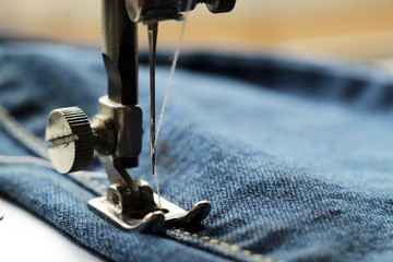 Sewing machine and denim, tailoring