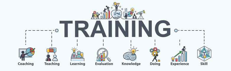 Training banner web icon for business and Seminar, coach, teaching, learn, evaluation, knowledge, doing, experience and skill. Minimal vector infographic.