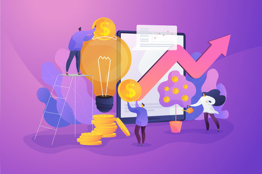 Tiny business people investing into innovation with high potential. Venture capital, venture investment, venture financing and business angel concept. Vector isolated concept creative illustration.