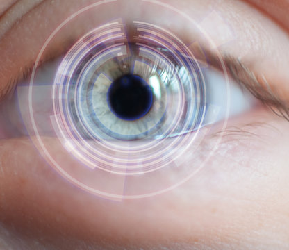 Bionic eye, futurist tech concept.eye with information overlay.