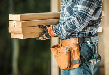 Contractor With Wood Beams