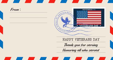 Happy Veterans Day Vector illustration. paper envelope concept