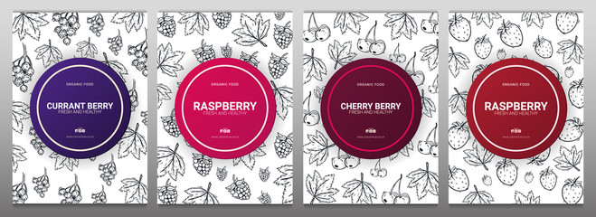 Sert of Berries banners with raspberries, strawberries, currants and cherries. Food design template with berry.