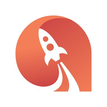 Two dimensional rocket start vector icon symbol from astronomy on the white background