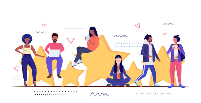 mix race people using digital gadgets customers review five stars rating client feedback satisfaction level concept men women standing together sketch full length horizontal vector illustration