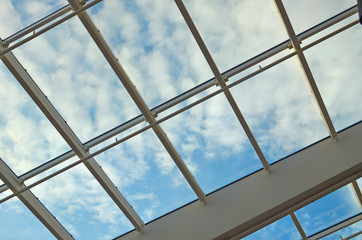 glass ceiling with window. Square shot, vintage. The shopping center, business center,
