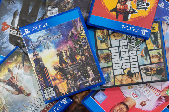 BANGKOK, THAILAND - OCTOBER 30: Pile of PS4 Blueray Box Games on October 30,2019. in Bangkok Thailand.
