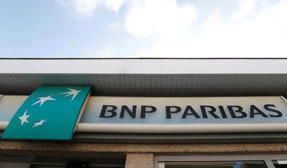 BNP Paribas logo is seen outside a bank office in Bordeaux