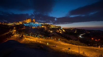 Wall Mural - Time lapse of Uchisar town at night, Cappadocia in Turkey.