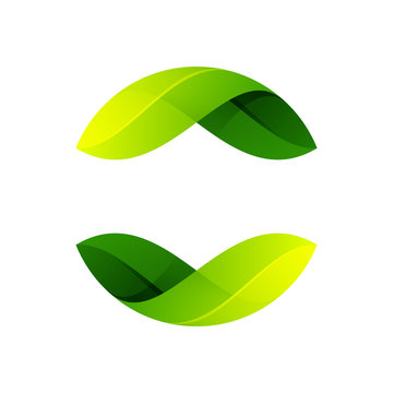 Ecology sphere logo formed by twisted green leaves.