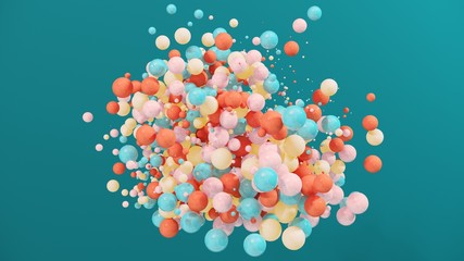 Dynamic colorful bouncing balls for party, festival, celebration. Group of balls, bubbles on bright  background. Digital, trend, conceptual banner for children with copy space - 3D, render.