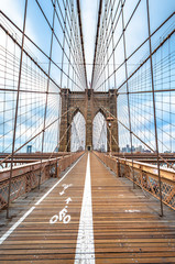 Foto auf Leinwand New York Brooklyn Bridge with nobody in cloudy day ,New York City ,USA