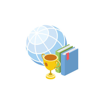 Cup globe award book Education. Vector 3d isometric, color web icon, new flat style. Creative illustration design, idea for infographics.
